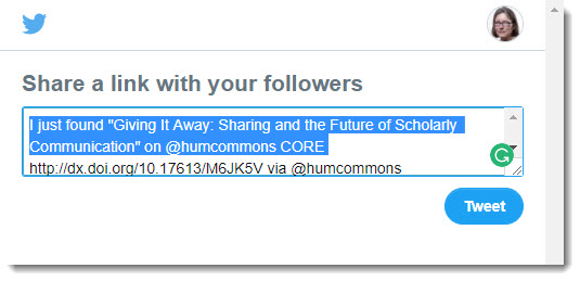 Share Humanities Commons links on Twitter