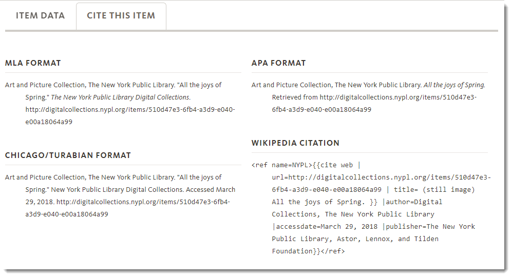 New York Public Library - image citation style