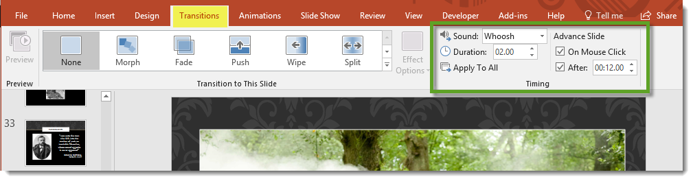 PowerPoint transitions and timings