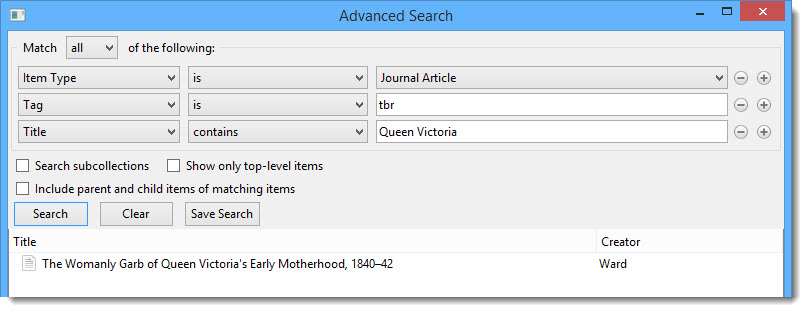 Example of advanced search in Zotero