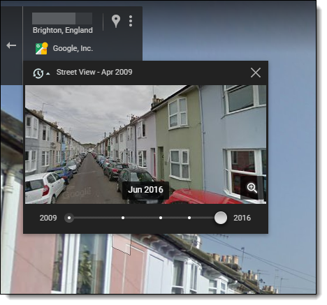 Google Street View - time travel feature
