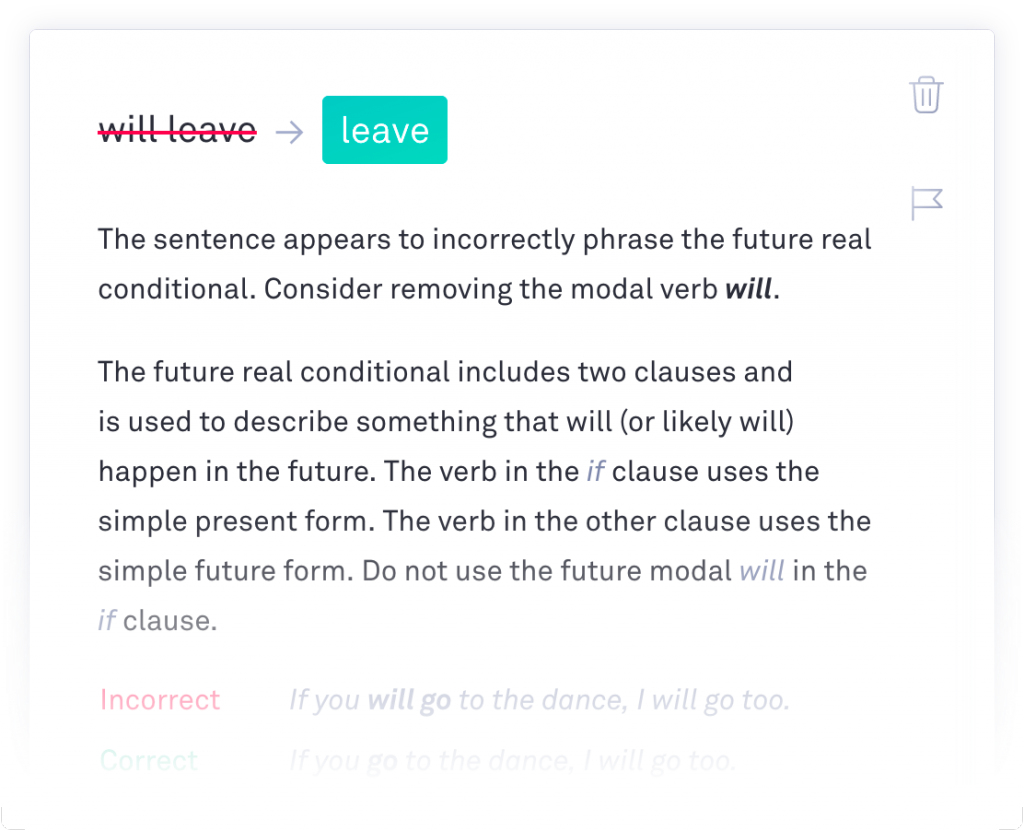 Screenshot of Grammarly