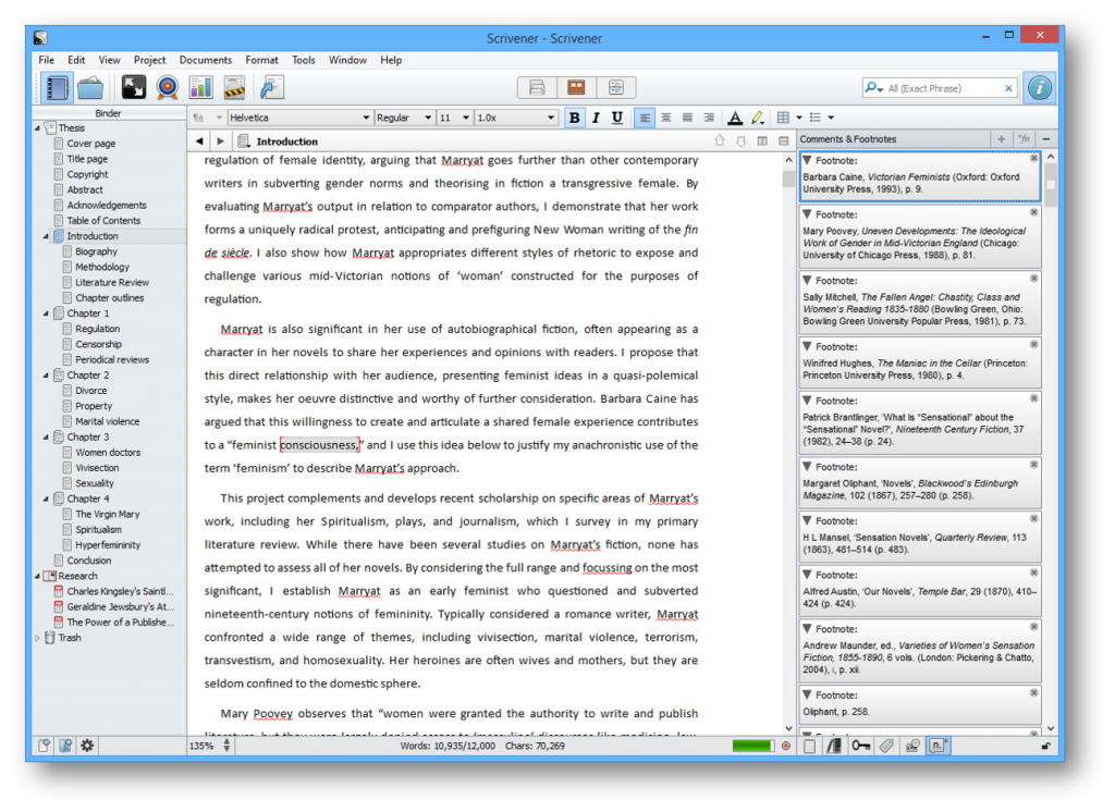 Screenshot of Scrivener