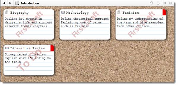 Screenshot of Scrivener corkboard