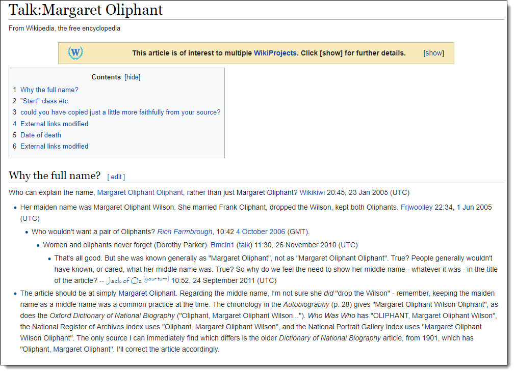 Wikipedia - Talk - Margaret Oliphant