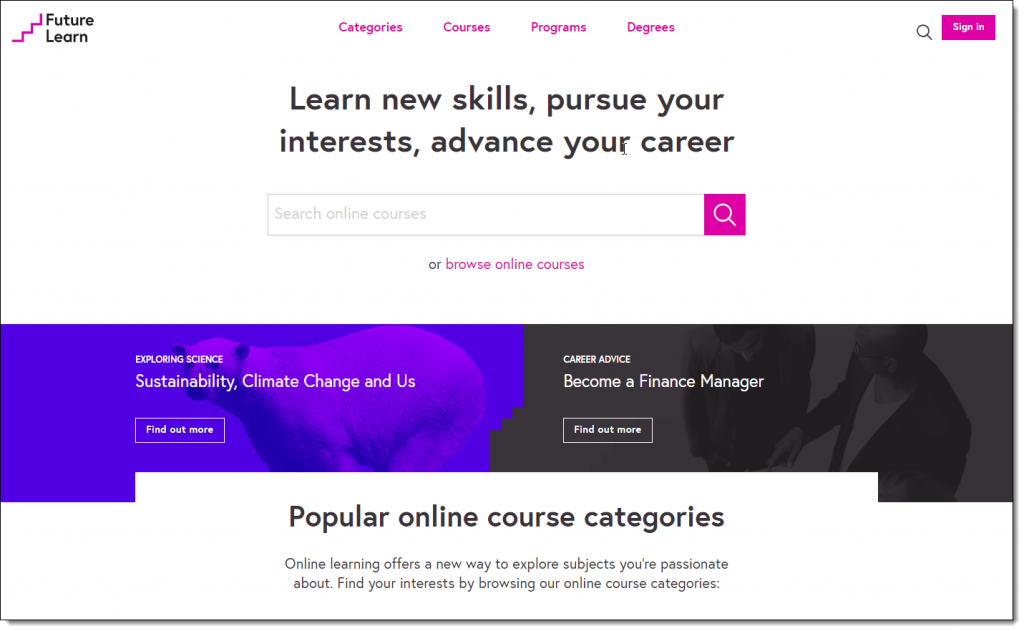 Screenshot of Futurelearn