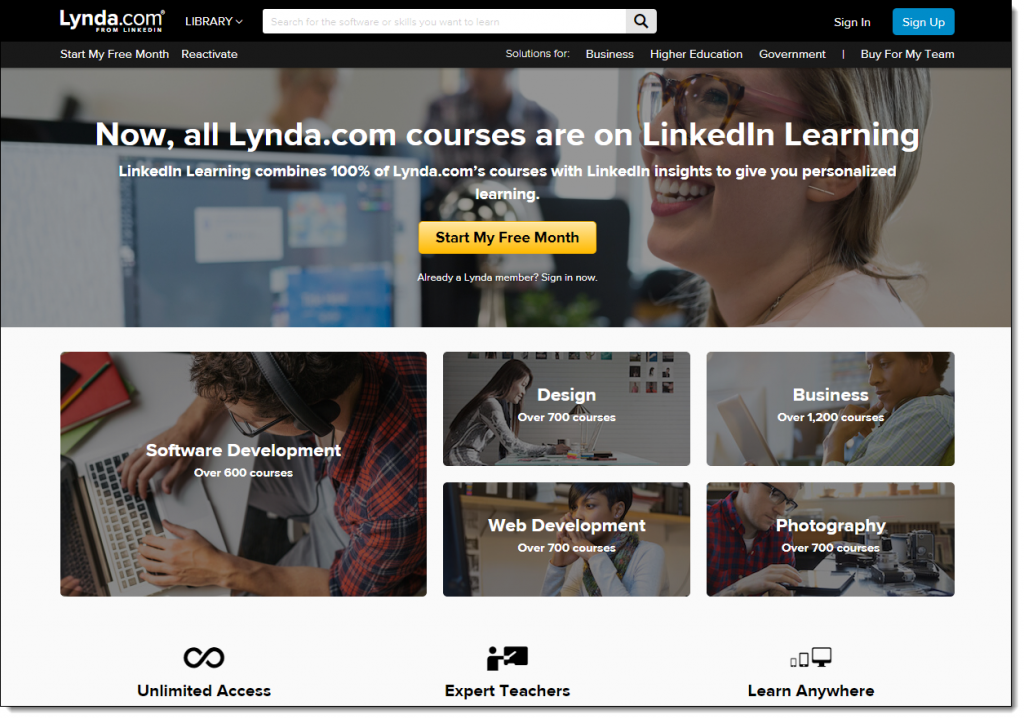 Screenshot of Lynda.com