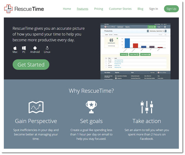 Screenshot of RescueTime