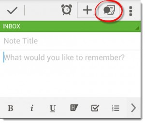 Add a voice note in Evernote for Android