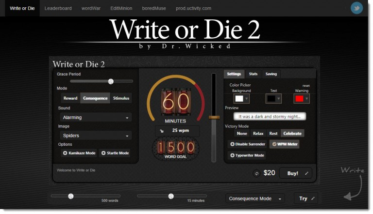 Screenshot of Write or Die