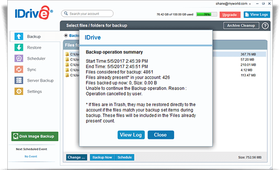 iDrive screenshot